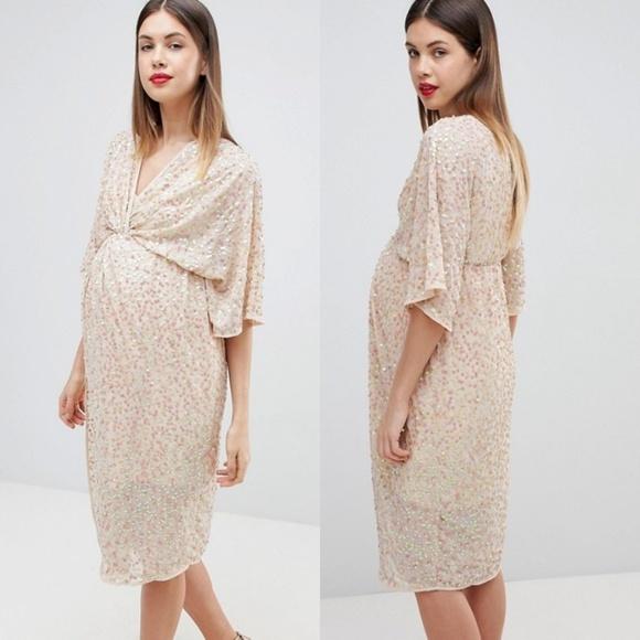 00d5a2d3fba33 ASOS Maternity Dresses | Sequin Kimono Midi Dress Nude | Poshmark